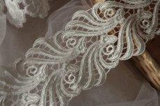 画像9: 1m!幅8.1cmウエディングドレスにも豪華なケミカルレース オフホワイト (9)