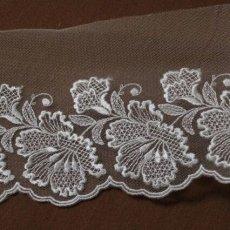 画像1: 1m巻幅11.2cm大ぶりの花柄チュールレース オフホワイト  (1)