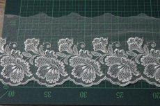 画像3: 1m巻幅11.2cm大ぶりの花柄チュールレース オフホワイト  (3)