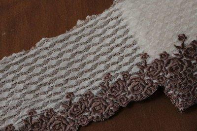 画像3: 3m!幅14.5cm美しい薔薇柄刺繍レース ブラウン