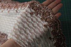 画像6: 3m!幅14.5cm美しい薔薇柄刺繍レース ブラウン (6)