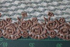 画像3: 3m!幅14.5cm美しい薔薇柄刺繍レース ブラウン (3)