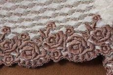 画像4: 3m!幅14.5cm美しい薔薇柄刺繍レース ブラウン (4)