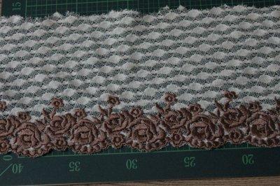 画像1: 3m!幅14.5cm美しい薔薇柄刺繍レース ブラウン