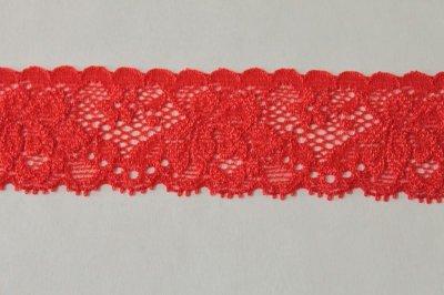 画像2: 高品質な日本製153m!幅3.1cm薔薇柄ラッセルストレッチレース 赤