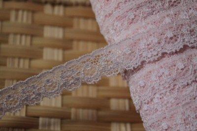 画像2: 高品質な日本製!3m!幅1.6cm綺麗な花柄ラッセストレッチレース 可愛いピンク