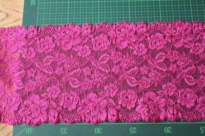 画像2: 5m!幅16cm豪華薔薇柄ラッセルストレッチレース パープルピンク 日本製