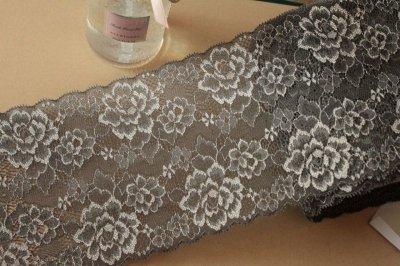 画像2: 3m!幅14cm綺麗な薔薇柄ラッセルストレッチレース 黒色 日本製