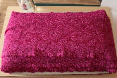 画像3: 5m!幅16cm豪華薔薇柄ラッセルストレッチレース パープルピンク 日本製