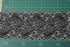 画像4: ラッセルストレッチレース 黒オフホワイト 58m巻!幅8.5cm薔薇柄 (4)
