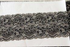画像7: ラッセルストレッチレース 黒オフホワイト 58m巻!幅8.5cm薔薇柄 (7)