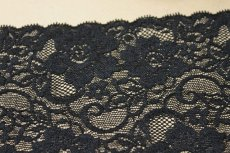 画像4: 3m!幅13.5cm薔薇柄ラッセルストレッチレース 黒日本製 (4)