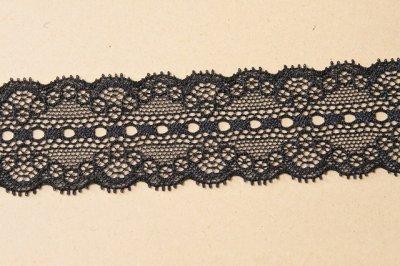 画像2: ラッセルストレッチレース 黒 幅4.4cmリボン通し 日本製5m巻