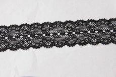 画像4: ラッセルストレッチレース 黒 幅4.4cmリボン通し 日本製5m巻 (4)