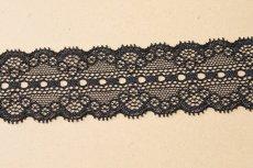 画像2: ラッセルストレッチレース 黒 幅4.4cmリボン通し 日本製5m巻 (2)