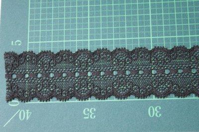 画像1: ラッセルストレッチレース 黒 幅4.4cmリボン通し 日本製5m巻
