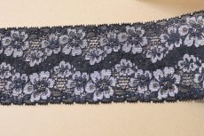 画像2: 高品質な日本製5m!幅8cm光沢のある花柄ラッセルストレッチレース ネイビー (2)