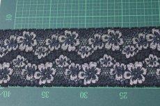 画像3: 高品質な日本製5m!幅8cm光沢のある花柄ラッセルストレッチレース ネイビー (3)