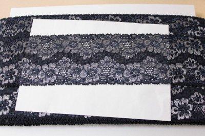 画像3: 高品質な日本製5m!幅8cm光沢のある花柄ラッセルストレッチレース ネイビー