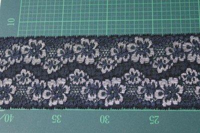 画像1: 高品質な日本製5m!幅8cm光沢のある花柄ラッセルストレッチレース ネイビー