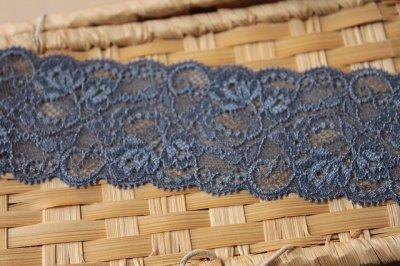 画像2: ラッセルストレッチレース ブルー 幅6.5cm美しい薔薇柄 5m巻