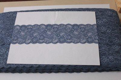 画像3: ラッセルストレッチレース ブルー 幅6.5cm美しい薔薇柄 5m巻