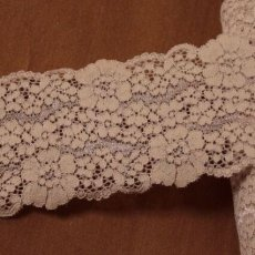 画像2: 5m!幅8.2cm花柄ラッセルストレッチレース ヌーディなブラウン (2)