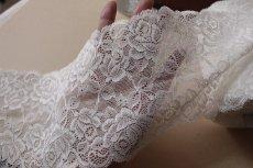画像6: ラッセルストレッチレース オフホワイト 日本製 幅13.5cm薔薇柄3m! (6)