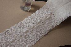 画像7: ラッセルストレッチレース オフホワイト 日本製 幅13.5cm薔薇柄3m! (7)