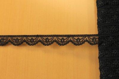 画像1: ラッセルレース ブラック 幅1.3cm小花柄 5m巻