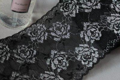 画像3: 3m巻!幅13.7cm綺麗な薔薇柄ラッセルストレッチレース 黒 日本製