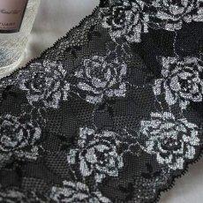 画像2: 3m巻!幅13.7cm綺麗な薔薇柄ラッセルストレッチレース 黒 日本製 (2)