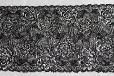 画像2: 3m巻!幅13.7cm綺麗な薔薇柄ラッセルストレッチレース 黒 日本製