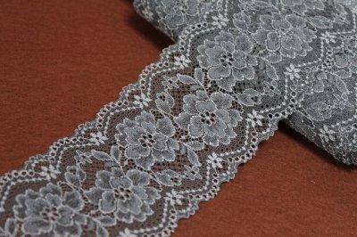 画像3: ラッセルストレッチレース チャコールグレー 幅8.3cm美しい薔薇柄 5m巻