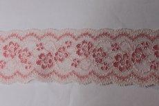 画像2: 5m!幅5.8cm薔薇柄ラッセルストレッチレース ピーチ 高品質な日本製 (2)