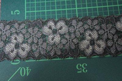画像1: 140m!幅4cm両山美しい花柄ラッセルストレッチレース チャコールグレー