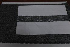 画像6: 90m!幅3.1m薔薇柄ラッセルストレッチレース 黒 高品質な日本製 (6)