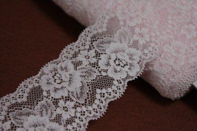 画像3: 5m!幅6cm美しい薔薇柄ラッセルストレッチレース ピンク高品質な日本製