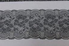 画像4: ラッセルストレッチレース チャコールグレー 幅8.3cm美しい薔薇柄 5m巻 (4)