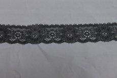 画像4: 90m!幅3.1m薔薇柄ラッセルストレッチレース 黒 高品質な日本製 (4)