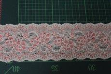 画像3: 5m!幅5.8cm薔薇柄ラッセルストレッチレース ピーチ 高品質な日本製 (3)