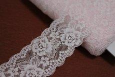 画像2: 5m!幅6cm美しい薔薇柄ラッセルストレッチレース ピンク高品質な日本製 (2)