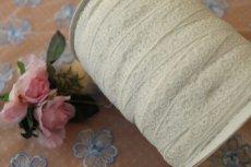 画像4: リバーストレッチレース オフホワイト 2m巻!幅1.1cm車輪と小花柄 (4)