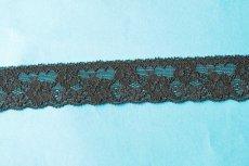 画像4: ラッセルストレッチレース 黒 幅3cm 薔薇柄 10m! (4)