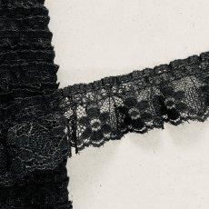 画像5: ラッセルフリルレース ブラック 5m!2.5cm小花柄 日本製 (5)