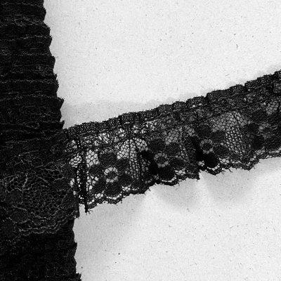 画像3: ラッセルフリルレース ブラック 5m!2.5cm小花柄 日本製