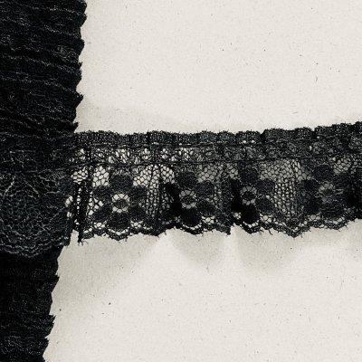 画像2: ラッセルフリルレース ブラック 5m!2.5cm小花柄 日本製