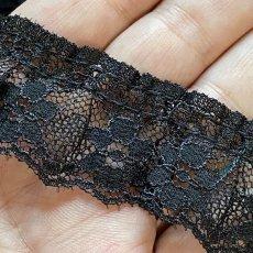 画像6: ラッセルフリルレース ブラック 5m!2.5cm小花柄 日本製 (6)