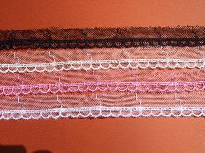 画像1: チュールレース 4色オフホワイト、白、ローズピンク、黒 幅1.6cm 6m巻!