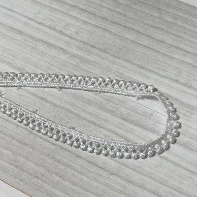 画像3: ケミカルレース オフホワイト 幅0.7cm極細なドット柄 6m巻